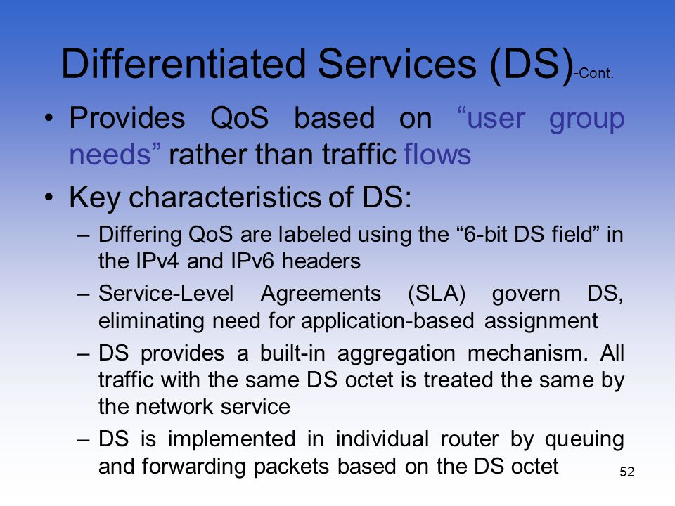Differentiated Services (DS)-Cont.