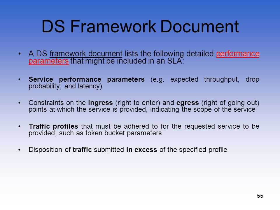 DS Framework Document A DS framework document lists the following detailed performance parameters that might be included in an SLA: