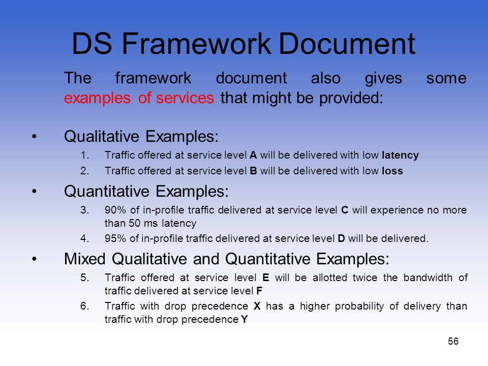 DS Framework Document The framework document also gives some examples of services that might be provided:
