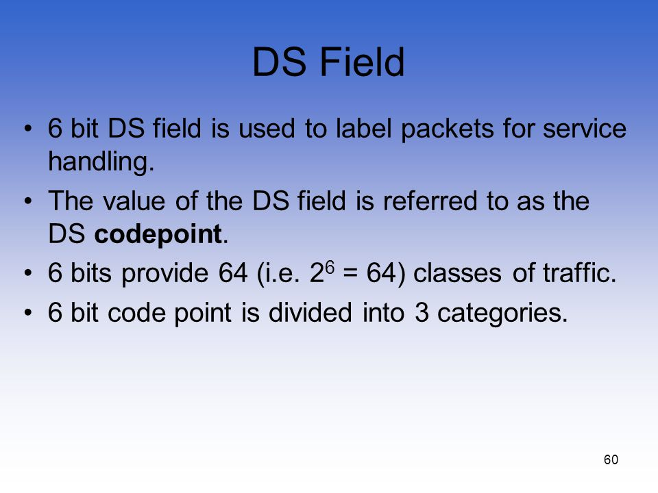 DS Field 6 bit DS field is used to label packets for service handling.