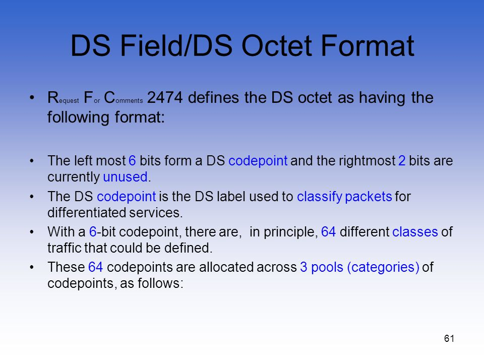 DS Field/DS Octet Format