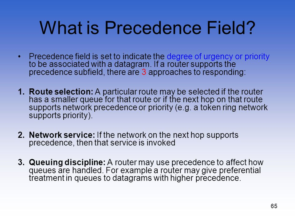 What is Precedence Field