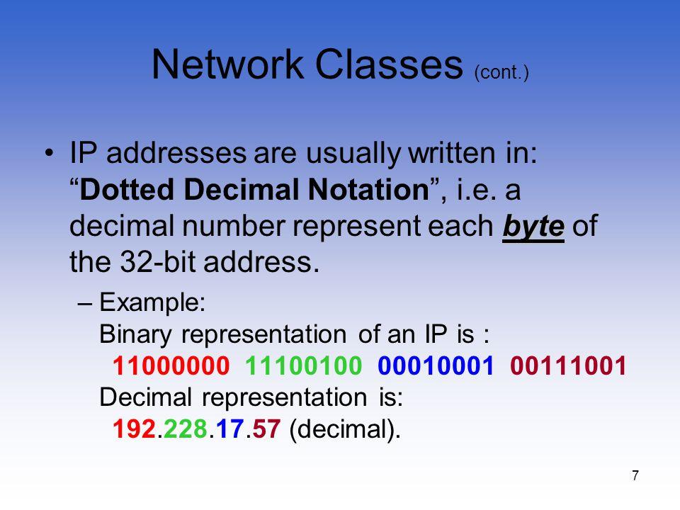 Network Classes (cont.)