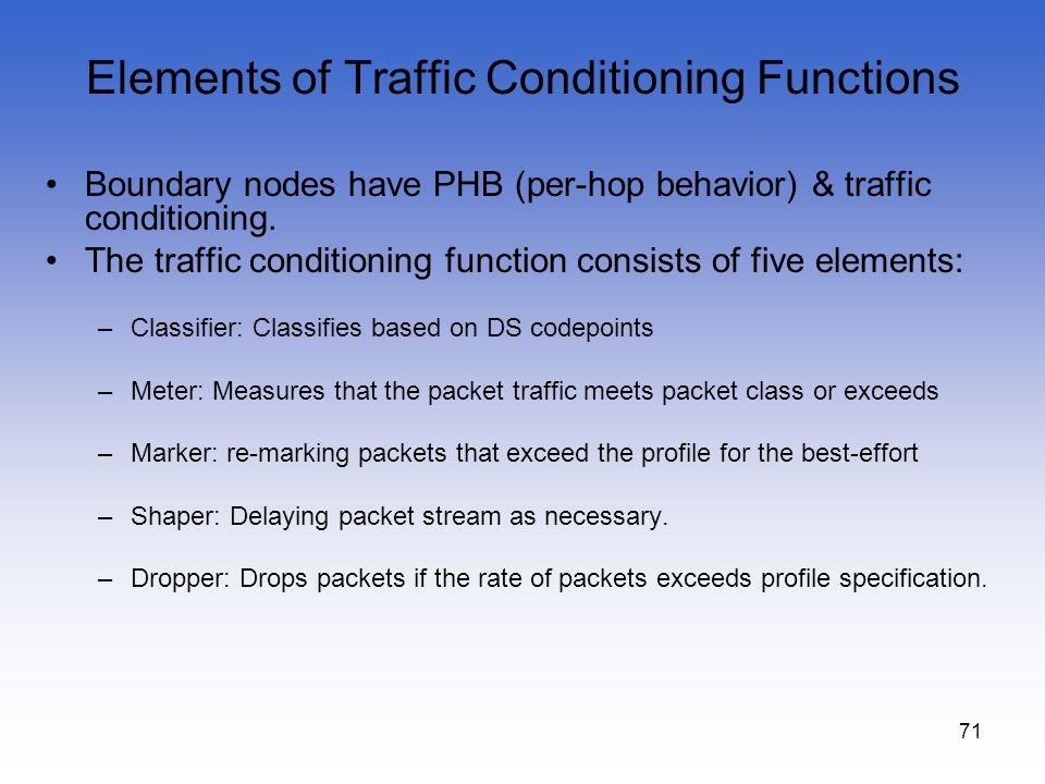 Elements of Traffic Conditioning Functions
