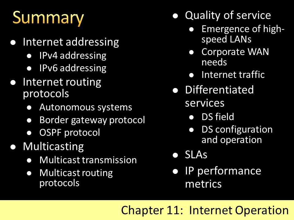 Summary Chapter 11: Internet Operation Quality of service