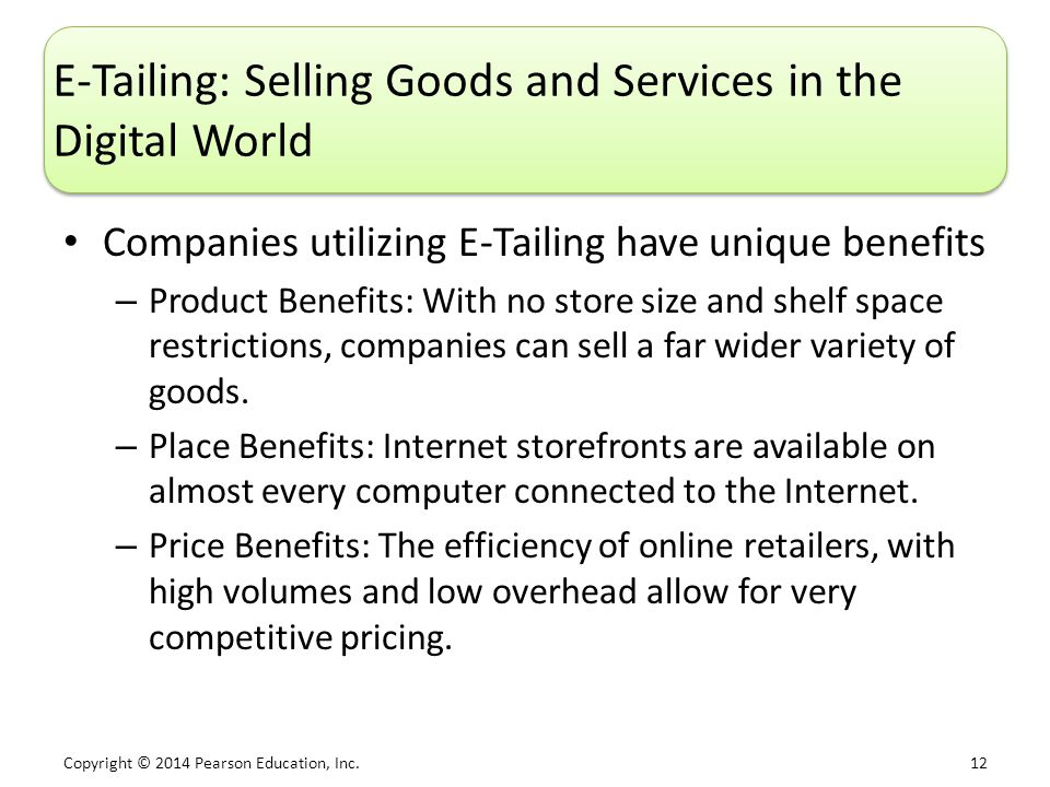 E-Tailing: Selling Goods and Services in the Digital World