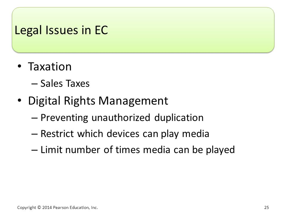 Legal Issues in EC Taxation Digital Rights Management Sales Taxes