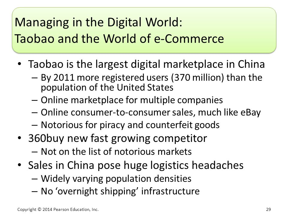 Managing in the Digital World: Taobao and the World of e-Commerce