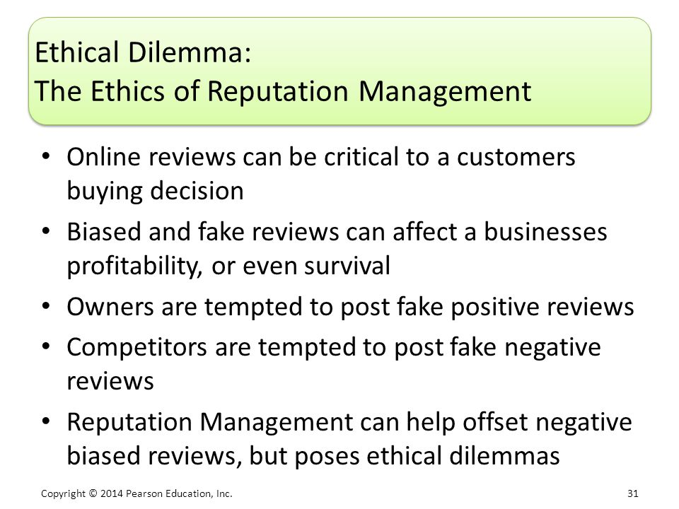 Ethical Dilemma: The Ethics of Reputation Management