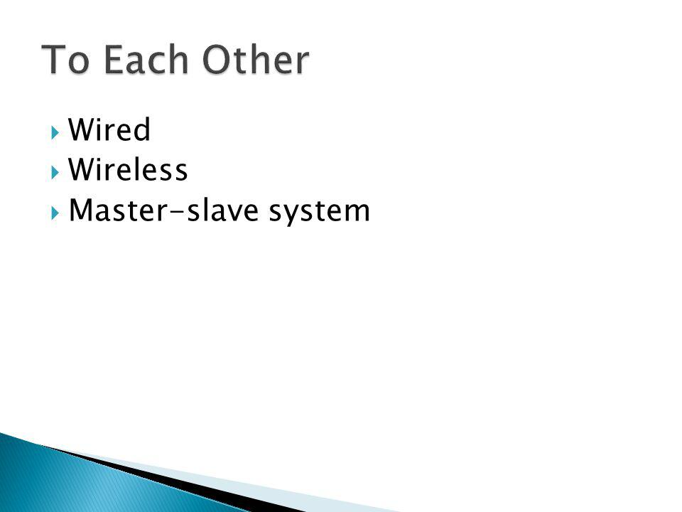 To Each Other Wired Wireless Master-slave system