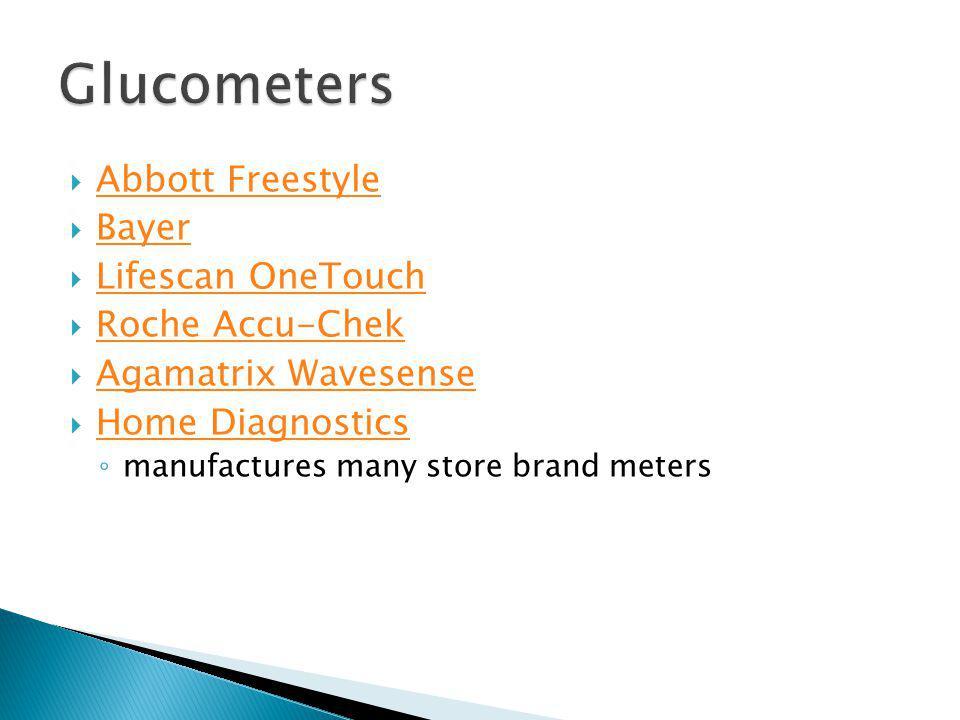 Glucometers Abbott Freestyle Bayer Lifescan OneTouch Roche Accu-Chek