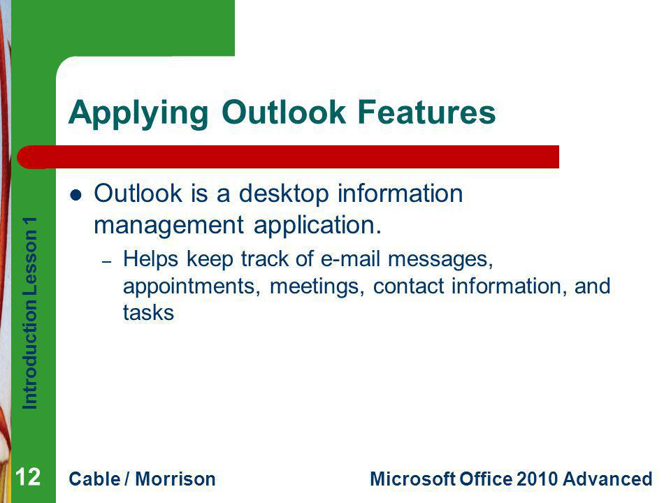 Applying Outlook Features