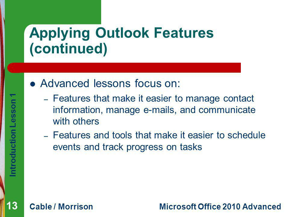 Applying Outlook Features (continued)