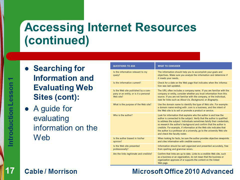 Accessing Internet Resources (continued)