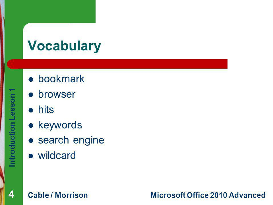 Vocabulary bookmark browser hits keywords search engine wildcard 4 4