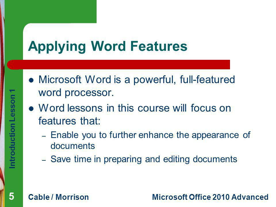 Applying Word Features