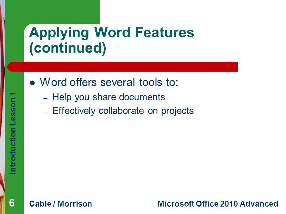 Applying Word Features (continued)