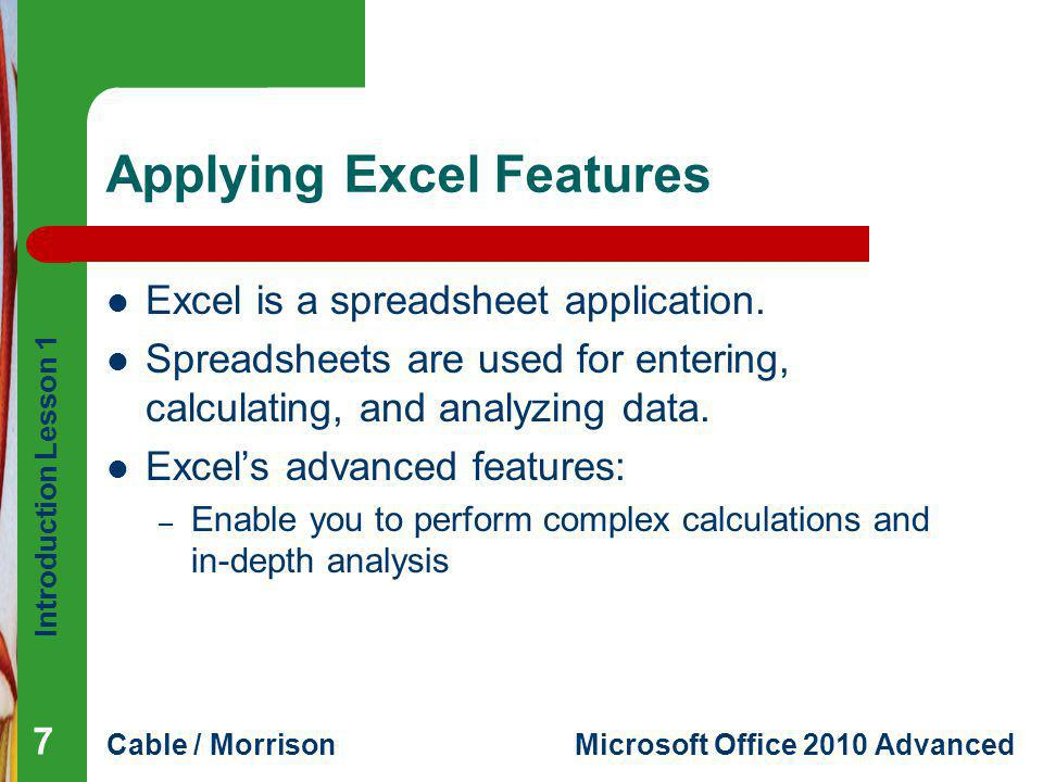 Applying Excel Features