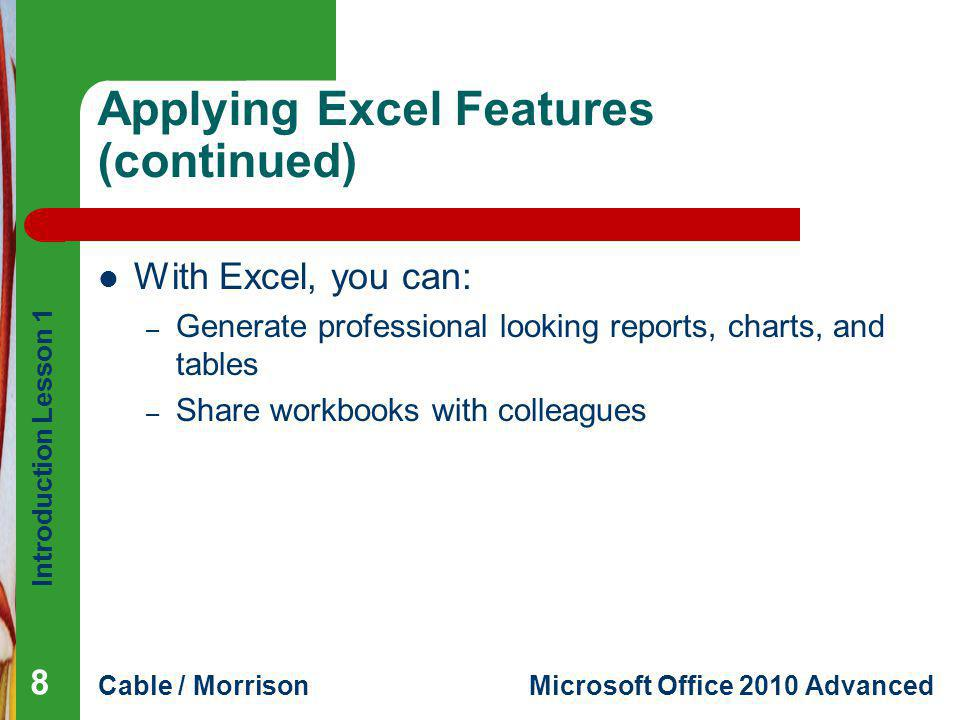 Applying Excel Features (continued)