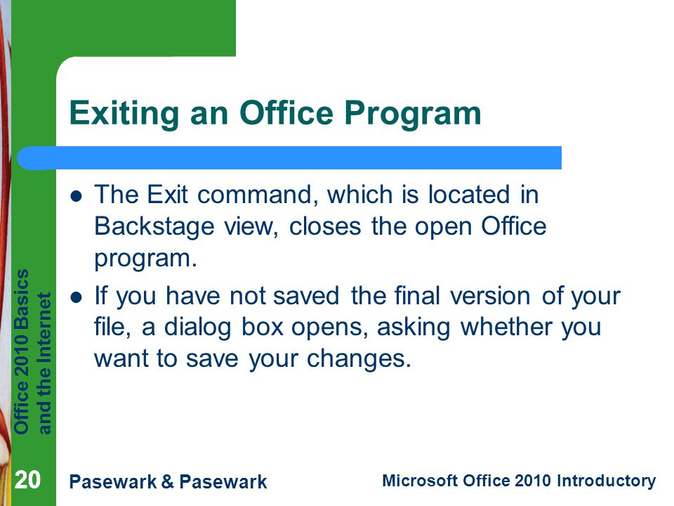 Exiting an Office Program