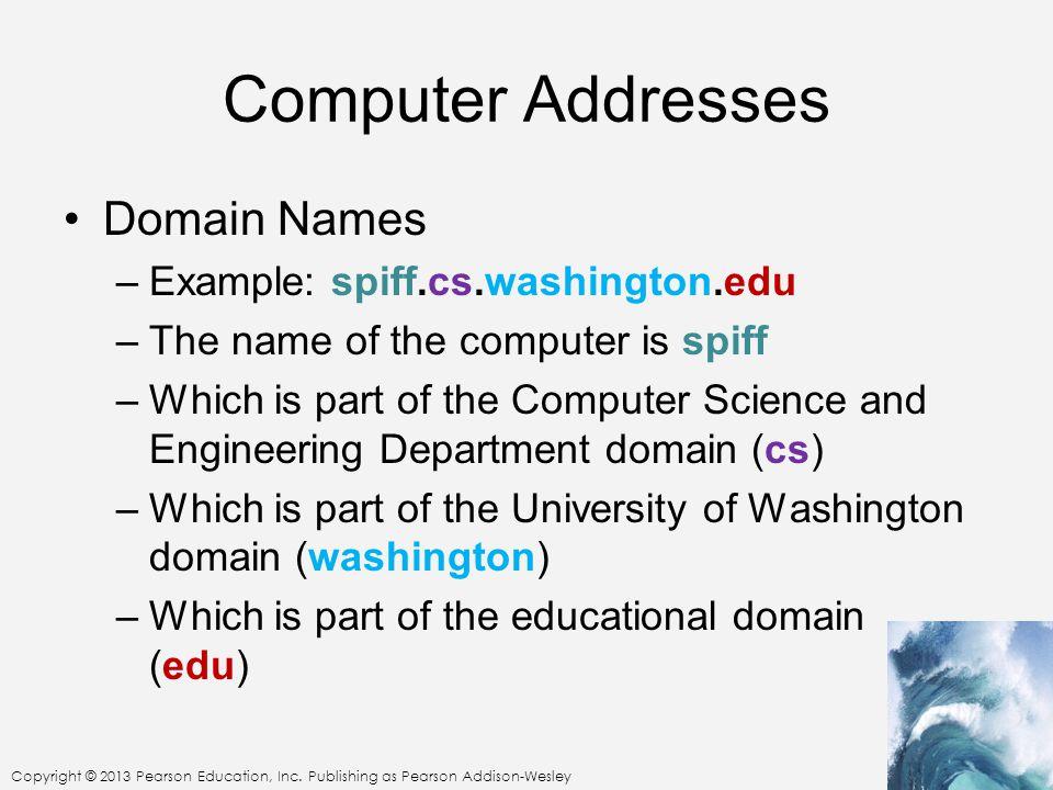 Computer Addresses Domain Names Example: spiff.cs.washington.edu