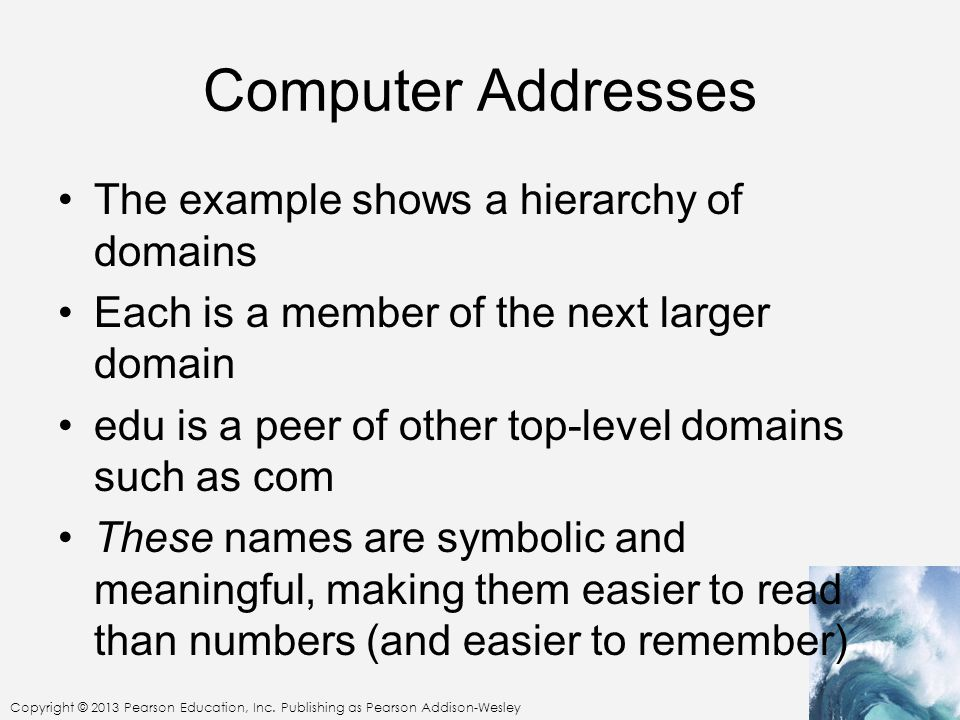 Computer Addresses The example shows a hierarchy of domains