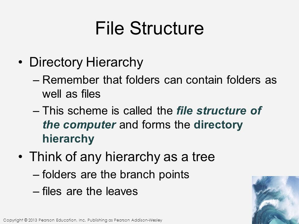 File Structure Directory Hierarchy Think of any hierarchy as a tree