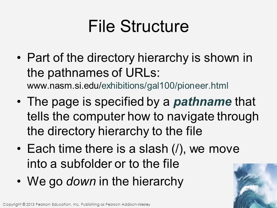 File Structure Part of the directory hierarchy is shown in the pathnames of URLs: www.nasm.si.edu/exhibitions/gal100/pioneer.html.