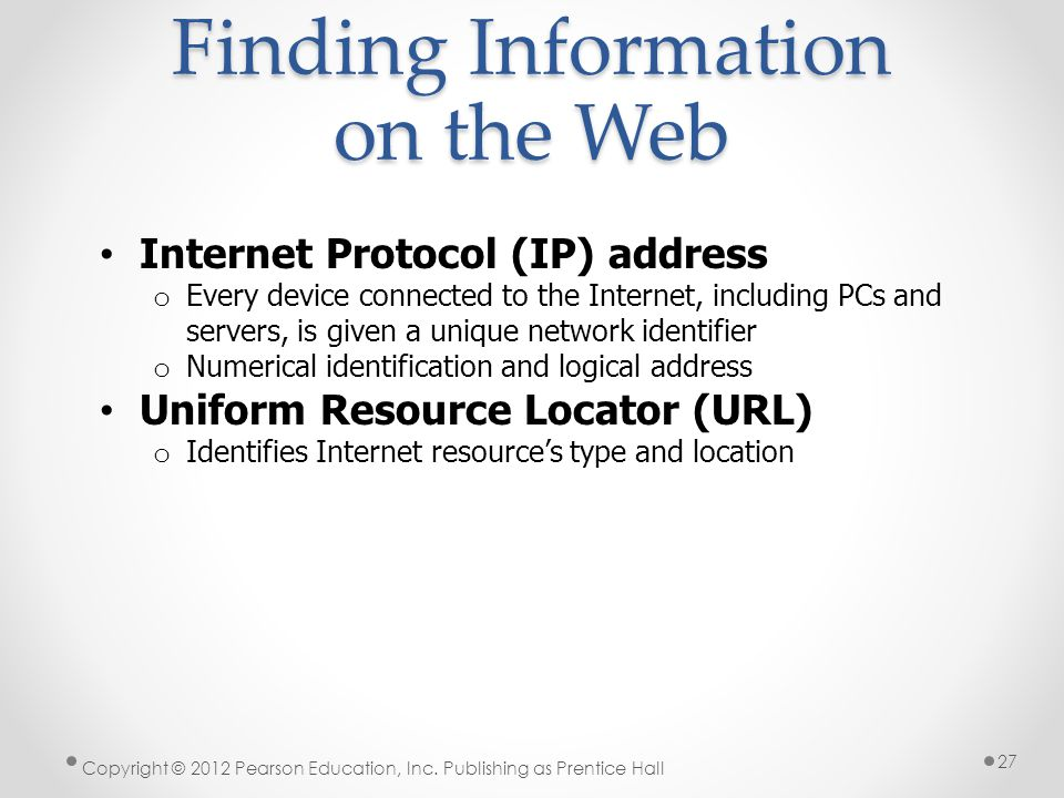 Finding Information on the Web