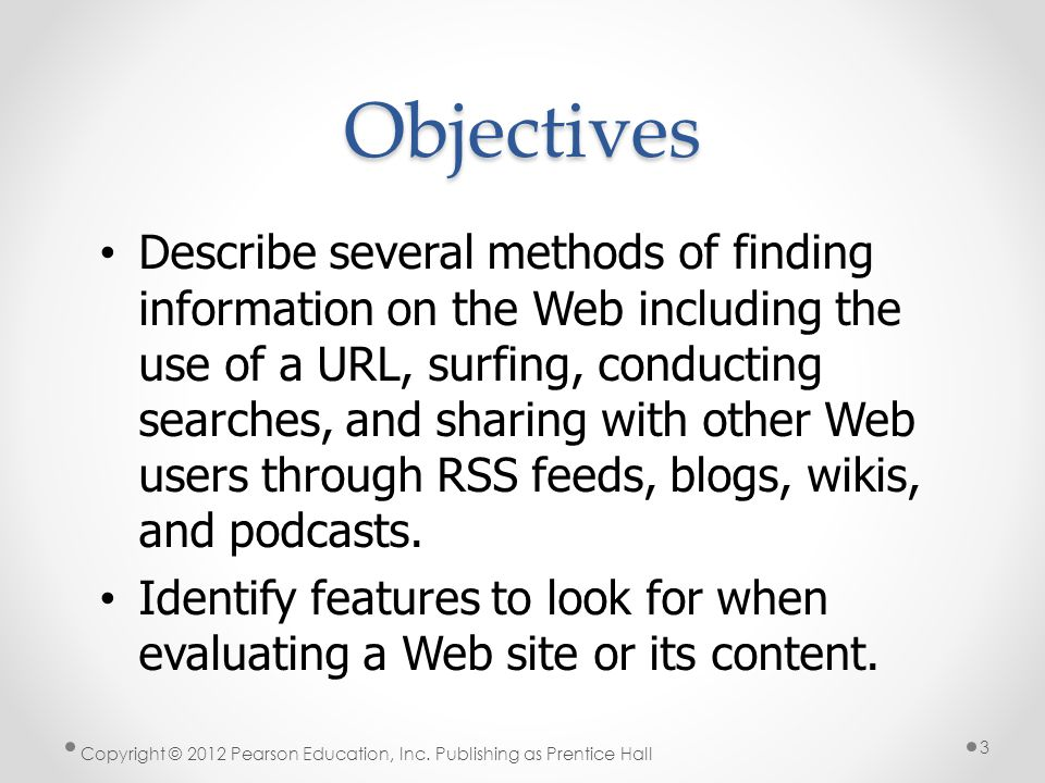 * Objectives. 07/16/96.