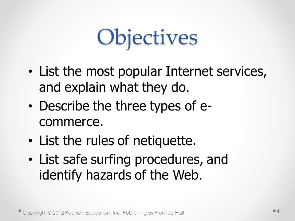* Objectives. 07/16/96. List the most popular Internet services, and explain what they do. Describe the three types of e-commerce.