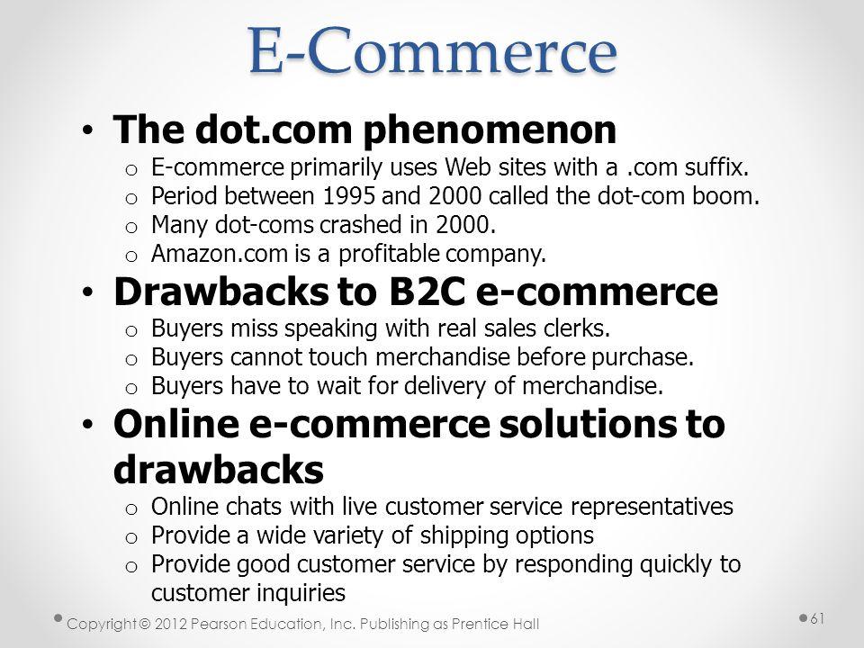 E-Commerce The dot.com phenomenon Drawbacks to B2C e-commerce