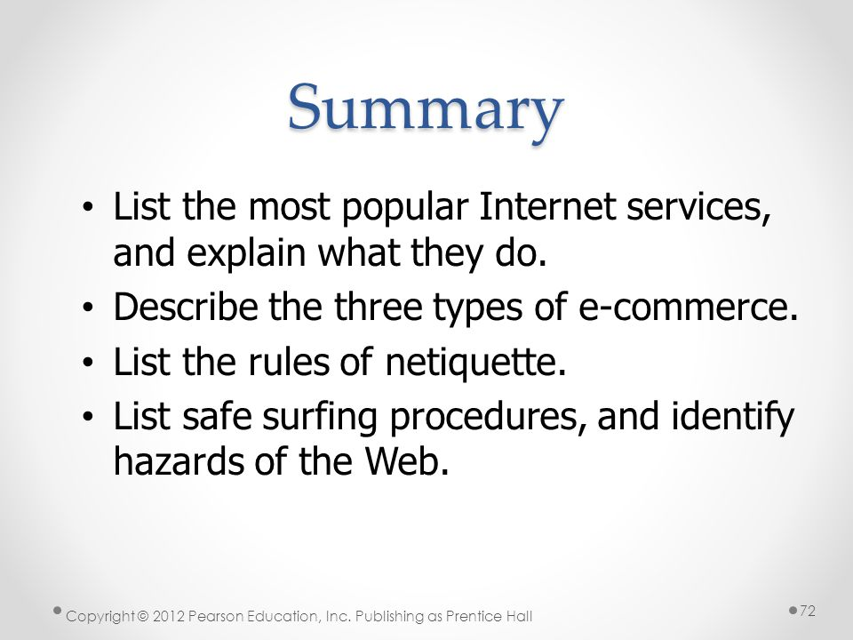 * Summary. 07/16/96. List the most popular Internet services, and explain what they do. Describe the three types of e-commerce.