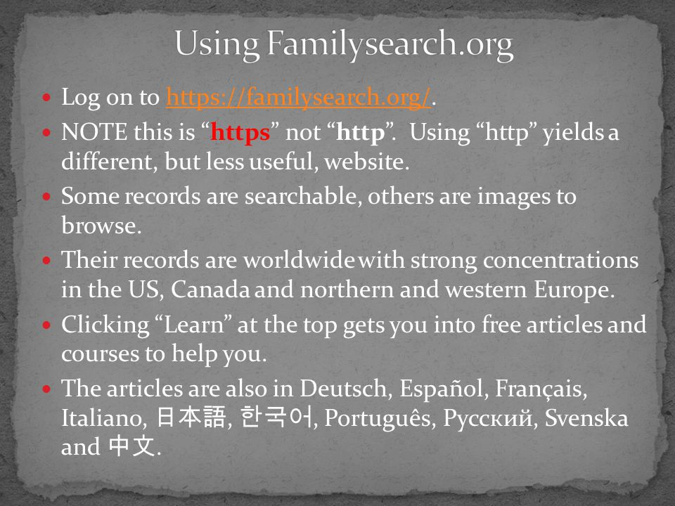 Using Familysearch.org