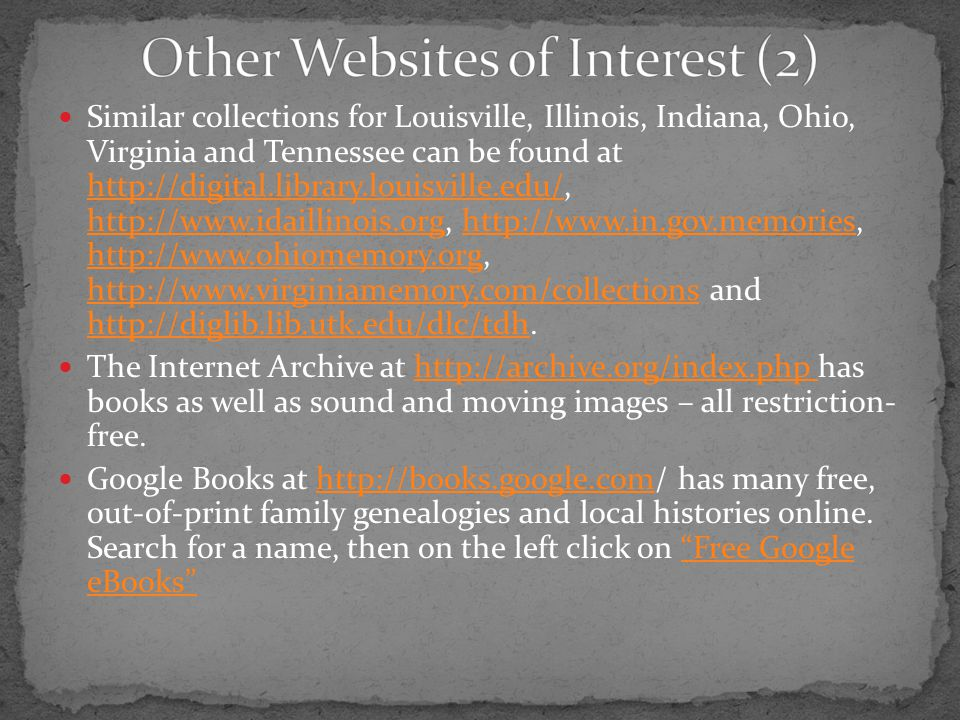 Other Websites of Interest (2)