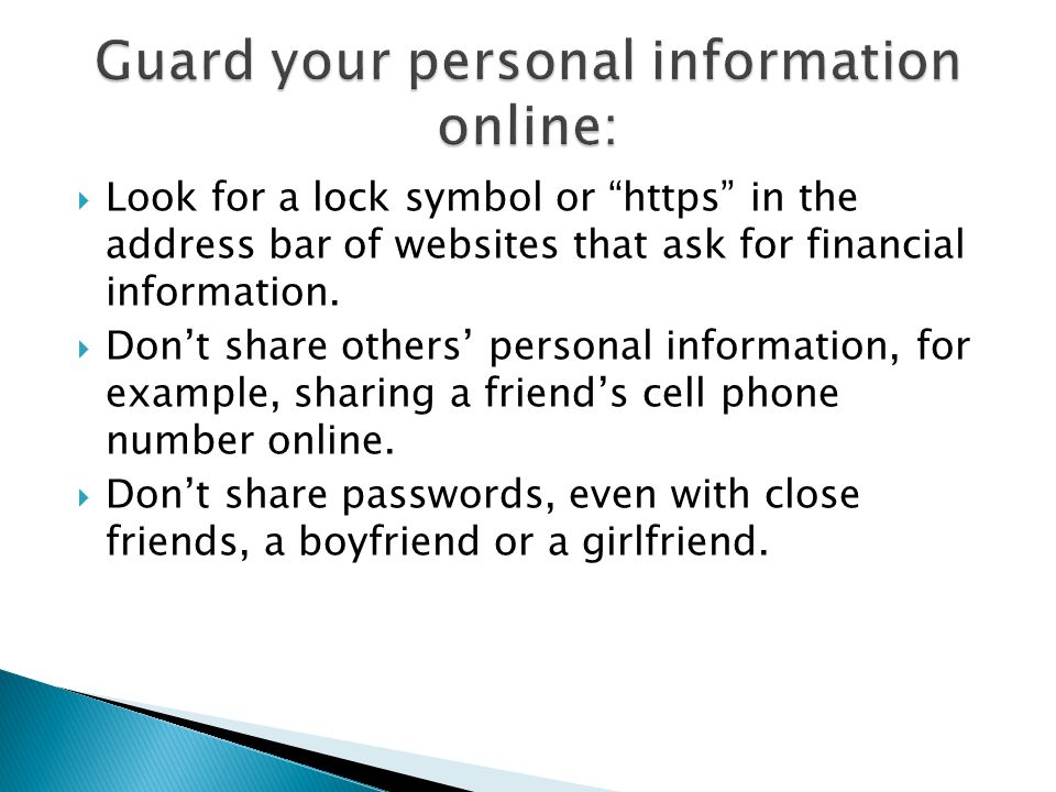 Guard your personal information online: