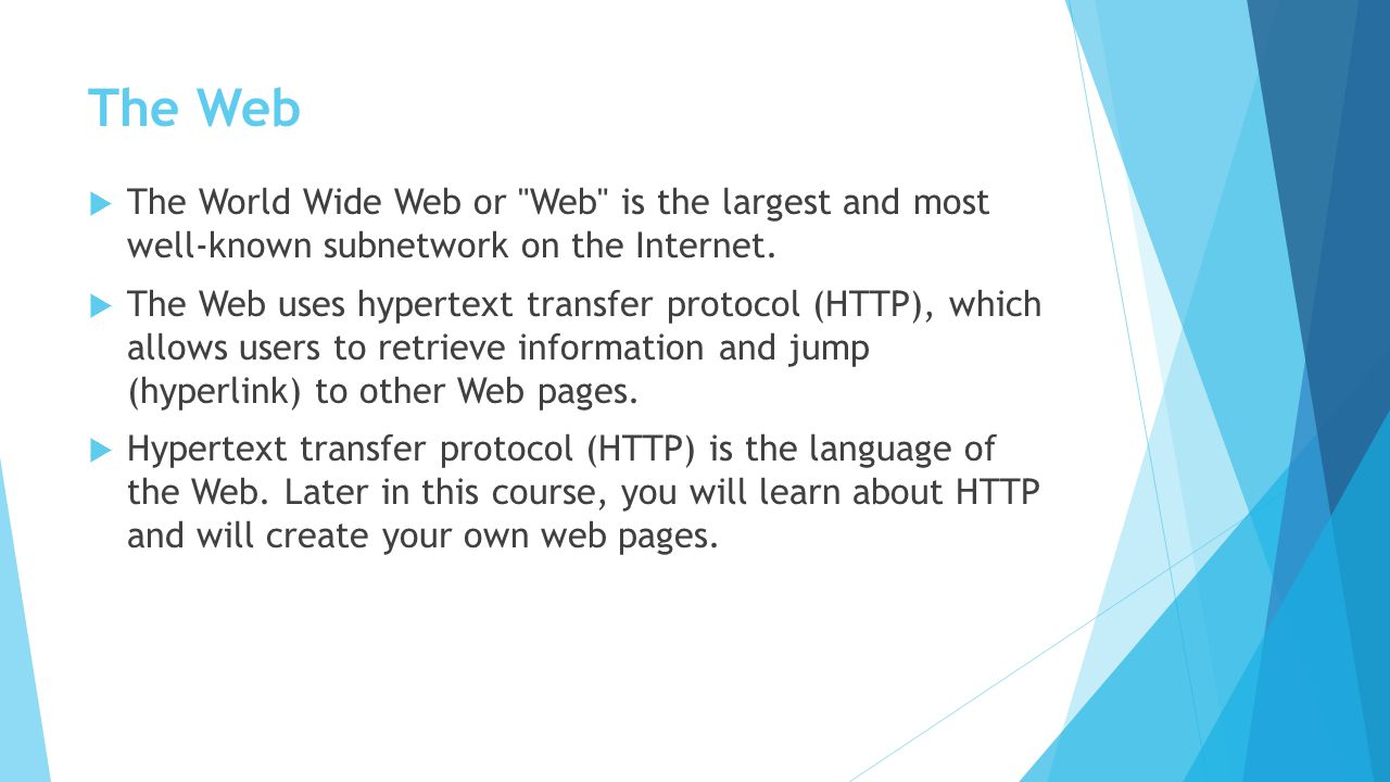 The Web The World Wide Web or Web is the largest and most well-known subnetwork on the Internet.