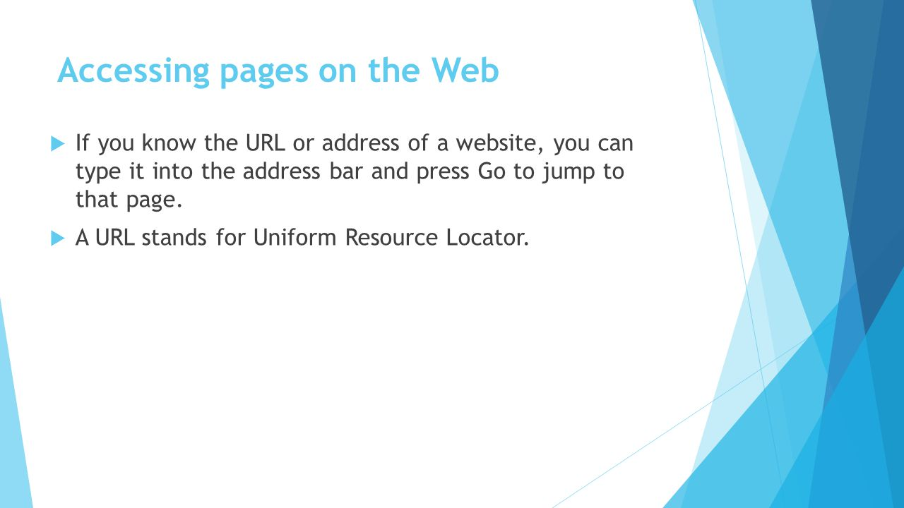 Accessing pages on the Web