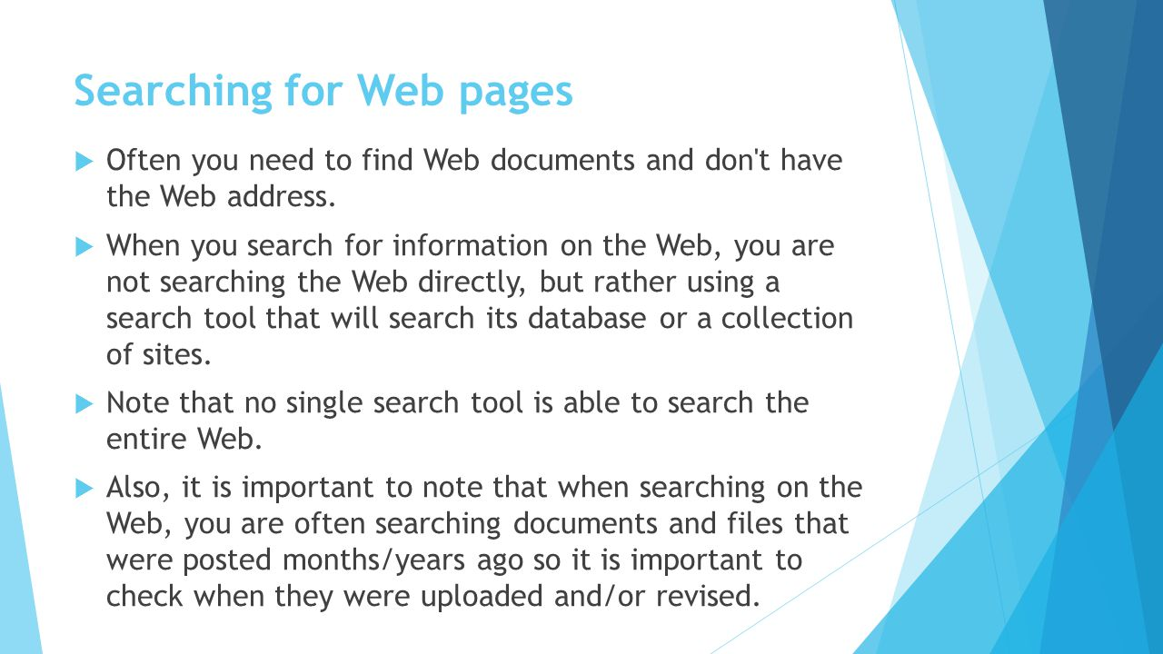 Searching for Web pages