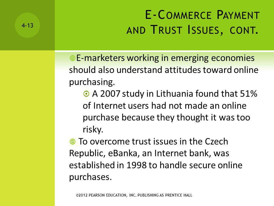 E-Commerce Payment and Trust Issues, cont.