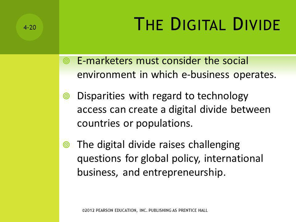 The Digital Divide E-marketers must consider the social environment in which e-business operates.