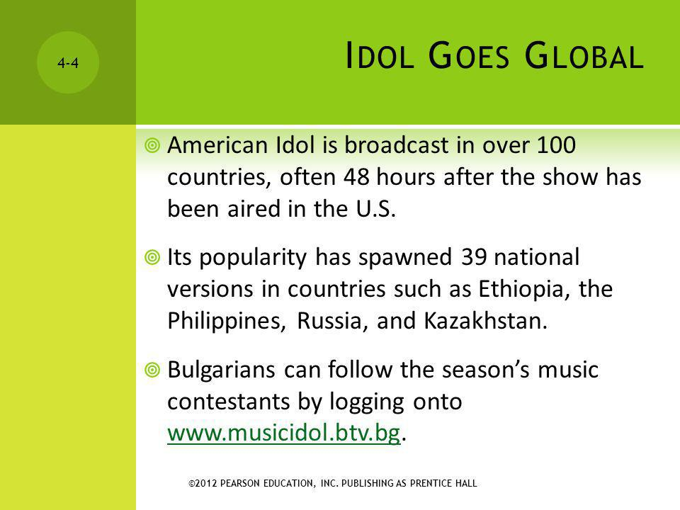 Idol Goes Global American Idol is broadcast in over 100 countries, often 48 hours after the show has been aired in the U.S.