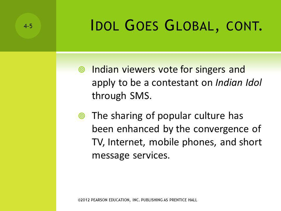 Idol Goes Global, cont. Indian viewers vote for singers and apply to be a contestant on Indian Idol through SMS.