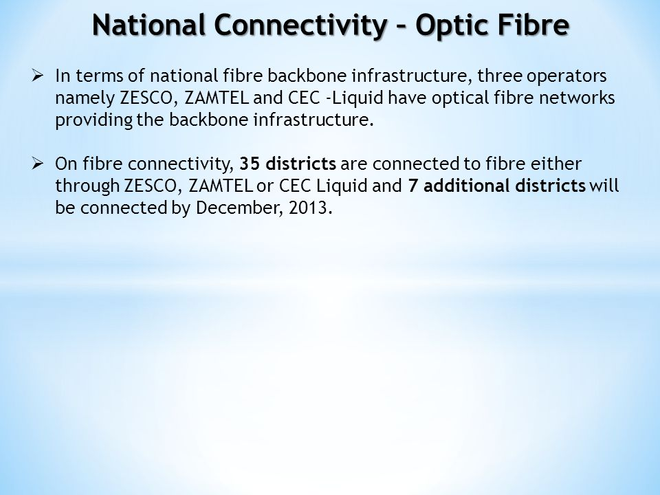 National Connectivity – Optic Fibre