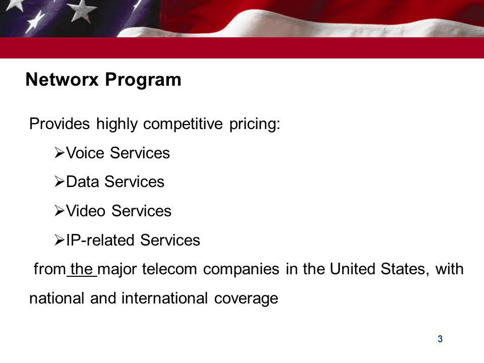 Networx Program Provides highly competitive pricing: Voice Services