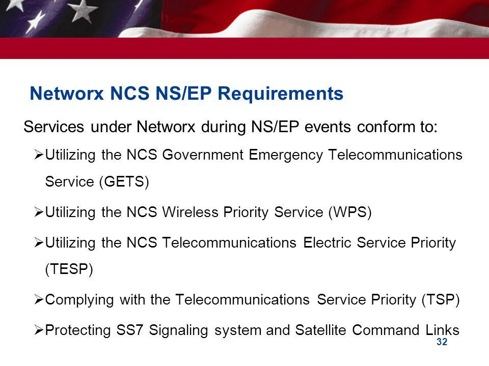 Networx NCS NS/EP Requirements
