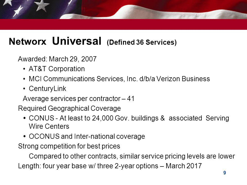 Networx Universal (Defined 36 Services)