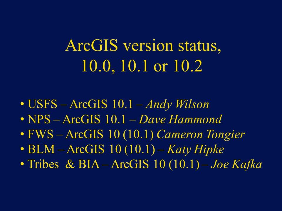 10.0, 10.1 or 10.2 ArcGIS version status,