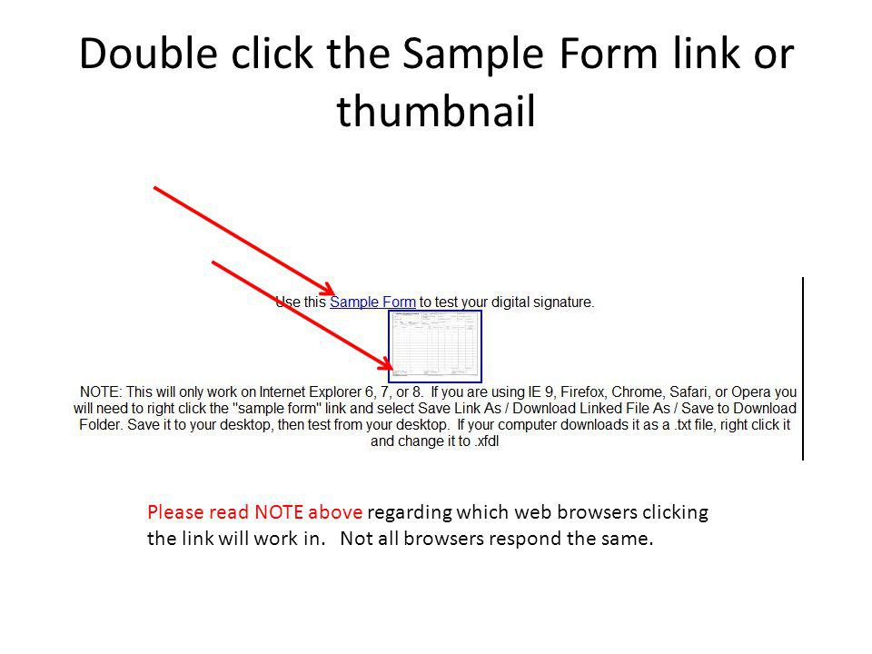 Double click the Sample Form link or thumbnail