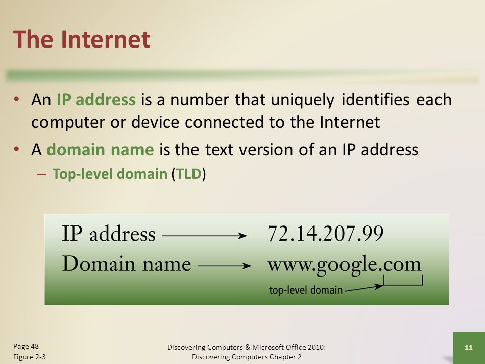The Internet An IP address is a number that uniquely identifies each computer or device connected to the Internet.
